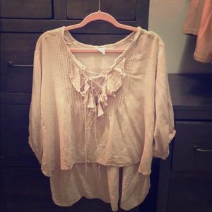 FREE PEOPLE ONE PINK LACE UP RUFFLE TOP M/L